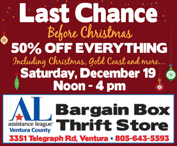 LAST CHANCE before Christmas! 50% off EVERYTHING this Sat., Dec. 19 at Assistance League Bargain Box from Noon - 4 pm
