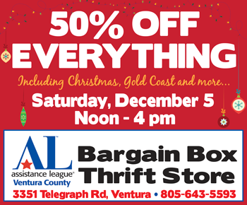 50% off Everything at Assistance League Bargain Box, Dec. 5 from noon to 4 pm