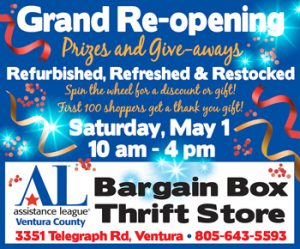 Grand Re-opening of Assistance League Bargain Box, May 1 from 10 am - 4 pm